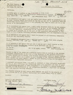 JAMES JIMMY STEWART - CONTRACT SIGNED 01/31/1946 CO-SIGNED BY: DOUGLAS WHITNEY, MAXINE ANDERSON