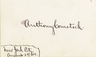 ANTHONY COMSTOCK - AUTOGRAPH CIRCA 1884
