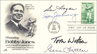BEN HOGAN - FIRST DAY COVER SIGNED CO-SIGNED BY: GENE LITTLER, TOM WATSON, DON JANUARY