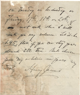 HENRY JAMES - AUTOGRAPH LETTER SIGNED 06/1913