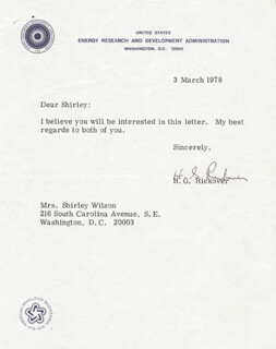 ADMIRAL HYMAN G. RICKOVER - TYPED LETTER SIGNED 03/03/1978