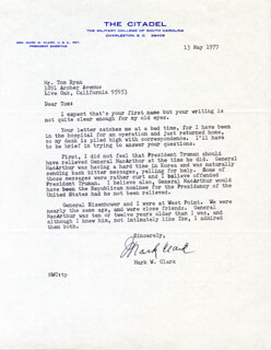Autographs: GENERAL MARK W. CLARK - TYPED LETTER SIGNED 05/13/1977