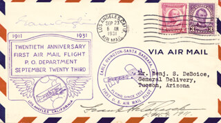 EARLE OVINGTON - COMMEMORATIVE ENVELOPE SIGNED CO-SIGNED BY: FRANK H. HITCHCOCK