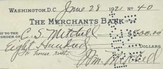 Autographs: MAJOR GENERAL WILLIAM BILLY MITCHELL - CHECK SIGNED 06/28/1921