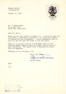 ROSCOE TURNER - TYPED LETTER SIGNED 01/20/1964