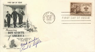 Autographs: PAUL A. SIPLE - FIRST DAY COVER WITH AUTOGRAPH SENTIMENT SIGNED