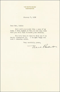 Autographs: FIRST LADY ELEANOR ROOSEVELT - TYPED LETTER SIGNED 01/07/1938