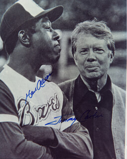 Autographs: PRESIDENT JAMES E. JIMMY CARTER - PHOTOGRAPH SIGNED CO-SIGNED BY: HANK AARON