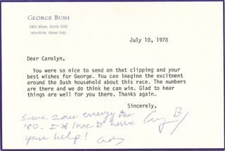 PRESIDENT GEORGE H.W. BUSH - TYPED LETTER SIGNED 07/10/1978
