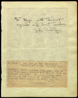 JOHN COOLIDGE - AUTOGRAPH NOTE SIGNED