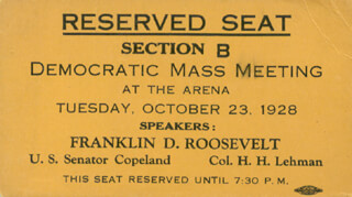 THE DEMOCRATIC PARTY - POLITICAL RALLY TICKET UNSIGNED CIRCA 1928