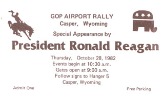 REPUBLICAN PARTY - POLITICAL RALLY TICKET UNSIGNED 10/28/1982