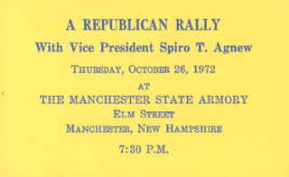 REPUBLICAN PARTY - POLITICAL RALLY TICKET UNSIGNED CIRCA 1972