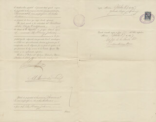 Autographs: PRESIDENT PORFIRIO DIAZ (MEXICO) - DOCUMENT SIGNED 10/27/1897 CO-SIGNED BY: E MARTINEZ BACA, GOVERNOR LEANDRO FERNANDEZ IMAS, GILBERTO CRESPO Y MARTINEZ