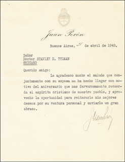 PRESIDENT JUAN D. PERON (ARGENTINA) - TYPED LETTER SIGNED 04/21/1949