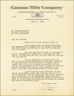 CHARLES A. CANNON - TYPED LETTER SIGNED 07/01/1938