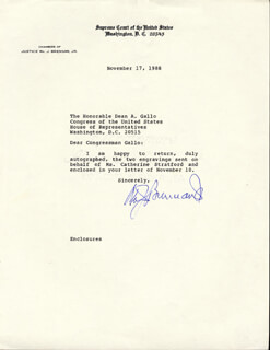 ASSOCIATE JUSTICE WILLIAM J. BRENNAN JR. - TYPED LETTER SIGNED 11/17/1988