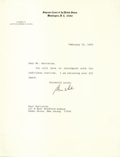 Autographs: ASSOCIATE JUSTICE BYRON R. WHITE - TYPED LETTER SIGNED 02/10/1993