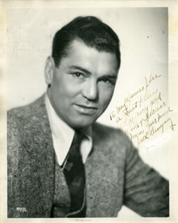 Autographs: JACK DEMPSEY - INSCRIBED PHOTOGRAPH SIGNED CO-SIGNED BY: JAMES J. LEE