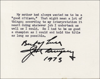 Autographs: JACK DEMPSEY - TYPED QUOTATION SIGNED 1973
