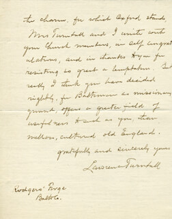 LAWRENCE TURNBULL - AUTOGRAPH LETTER SIGNED 09/28/1912