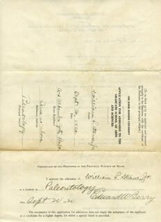 Autographs: WILLIAM LOUIS STRAUS JR. - APPLICATION DOUBLE SIGNED 09/20/1920 CO-SIGNED BY: EDWARD BERRY