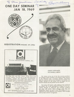 Autographs: RAYMOND LOEWY - INSCRIBED PROGRAM SIGNED 1969