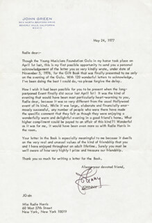 JOHNNY GREEN - TYPED LETTER SIGNED 05/24/1977
