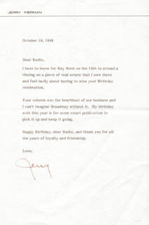 JERRY HERMAN - TYPED LETTER SIGNED 10/18/1988