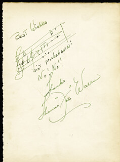 FATS (THOMAS) WALLER - AUTOGRAPH MUSICAL QUOTATION SIGNED