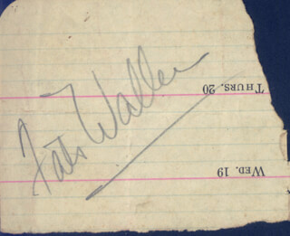FATS (THOMAS) WALLER - AUTOGRAPH