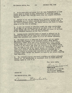 DODIE SMITH - CONTRACT SIGNED 12/08/1949 CO-SIGNED BY: ARMINA MARSHALL
