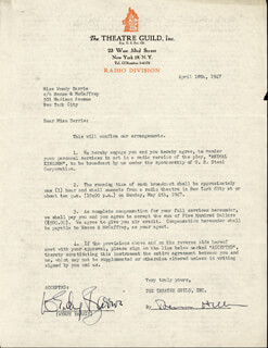 WENDY BARRIE - CONTRACT SIGNED 04/18/1947