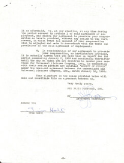 TIM HOLT - CONTRACT SIGNED 01/11/1939