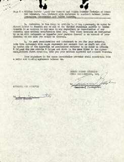 JIMMY SCHNOZZOLA DURANTE - CONTRACT SIGNED 11/1952