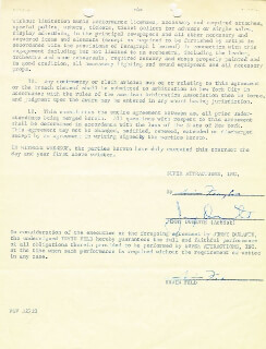 JIMMY SCHNOZZOLA DURANTE - CONTRACT SIGNED 01/28/1957 CO-SIGNED BY: IRVIN FELD