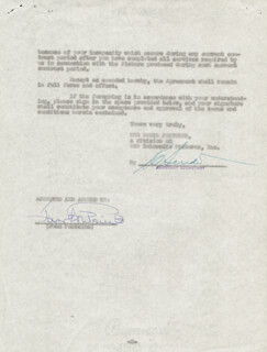 JOAN FONTAINE - CONTRACT SIGNED 06/01/1956
