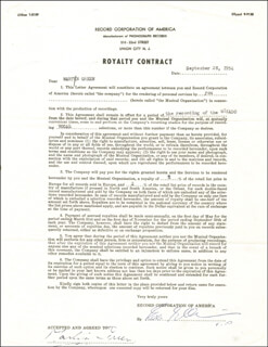Autographs: MARTYN GREEN - CONTRACT MULTI-SIGNED 09/28/1954
