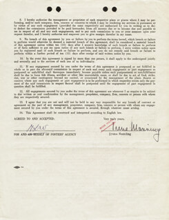 IRENE MANNING - CONTRACT SIGNED 04/09/1953