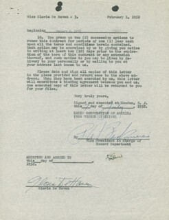 Autographs: GLORIA DEHAVEN - CONTRACT SIGNED 02/01/1952