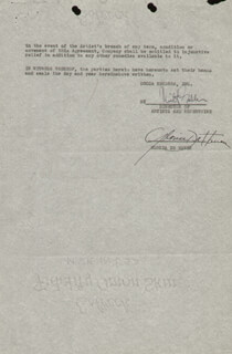 Autographs: GLORIA DEHAVEN - CONTRACT SIGNED 11/1954