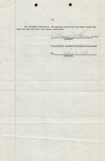 Autographs: GLORIA DEHAVEN - CONTRACT SIGNED 05/31/1954