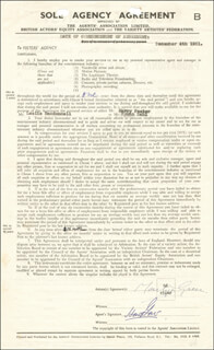 Autographs: MARTYN GREEN - CONTRACT SIGNED 12/04/1951