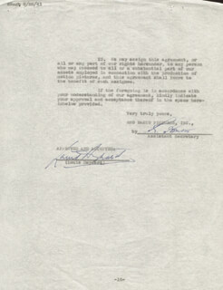 Autographs: LOUIS HAYWARD - CONTRACT SIGNED 08/25/1941