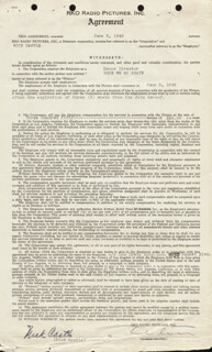 NICK CASTLE - CONTRACT DOUBLE SIGNED 06/03/1942