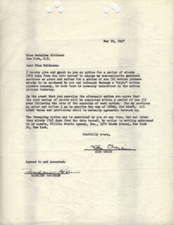 ILKA CHASE - DOCUMENT SIGNED 05/19/1947 CO-SIGNED BY: MADELINE ROBINSON