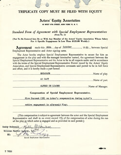 RODDY McDOWALL - DOCUMENT SIGNED 10/26/1953