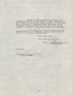 Autographs: LOUIS HAYWARD - CONTRACT SIGNED 01/29/1941
