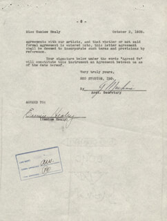 EUNICE HEALEY - CONTRACT SIGNED 10/02/1935