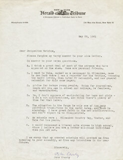 JOHN CROSBY - TYPED LETTER SIGNED 05/29/1961